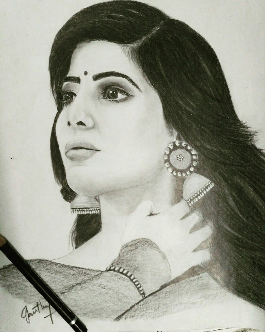 Pencil art by me for sammu darling 😋😍😘 actress south