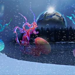 freetoedit remixed planet jellyfish pineforest