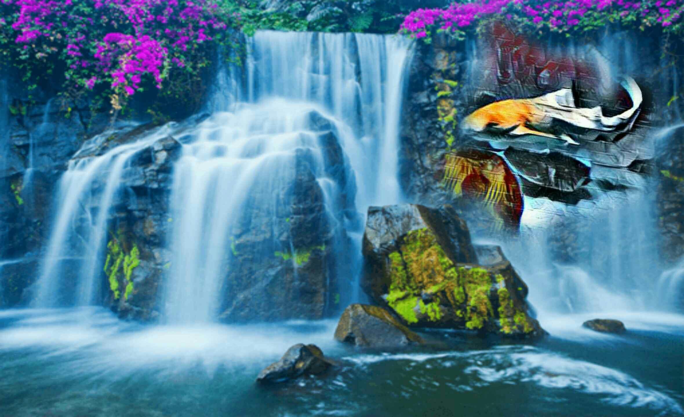 картинка с водопадами и лотосом предсказуемо может